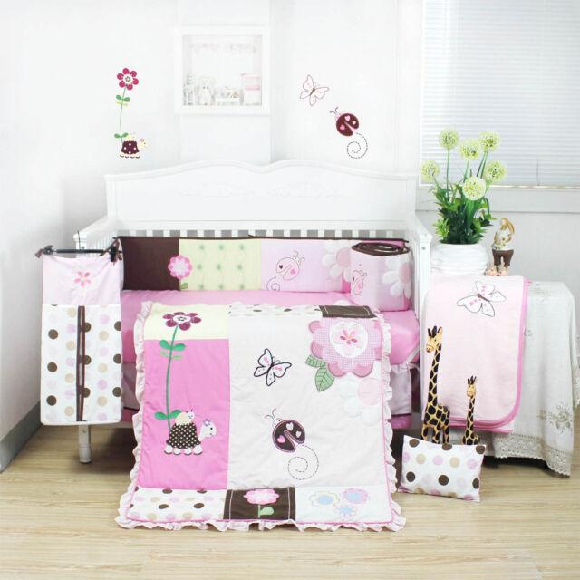 10 Pieces Beautiful Pink Flower Baby Girls Crib Cot Bedding Quilt Set KLF368