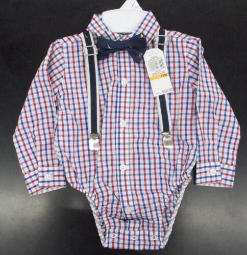 Infant Boys Nautica $50 4pc Chambray /& Khaki Suit w// Suspenders Size 12m 24m