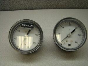 USG-0-60-PSI-Pressure-Gauge-Center-Back-Mount-QTY-of-2
