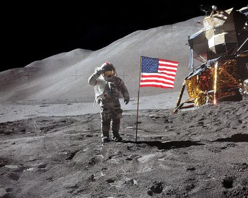 APOLLO 15 ASTRONAUT DAVID SCOTT U.S FLAG 11x14 SILVER HALIDE PHOTO PRINT