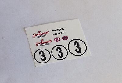 1//32 Strombecker Autorama Eldon Waterslide Folha De Decalque #3 Andretti Chaparral