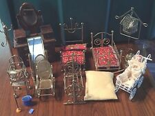 Large Grouping Metal Beds and Doll House Miniatures