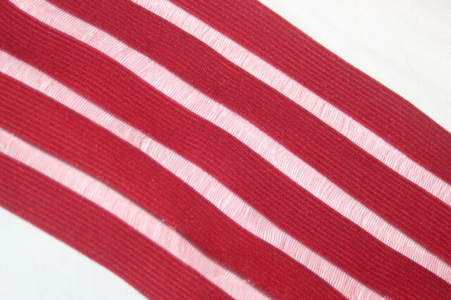 "60"" Brick Red sheer stripe stripes boxer waistband elastic 3.5"" wide s785"
