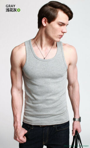 Top Quality Mens Tank Top GYM Sports Basic Tee Athletic Shirt Muscle Slinky Fit