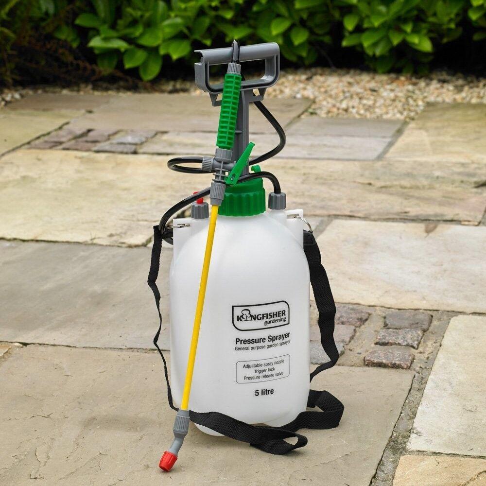 Garden Pest Control, Triggered spray Gun With 5 Litre Pressurised Tank Bottle