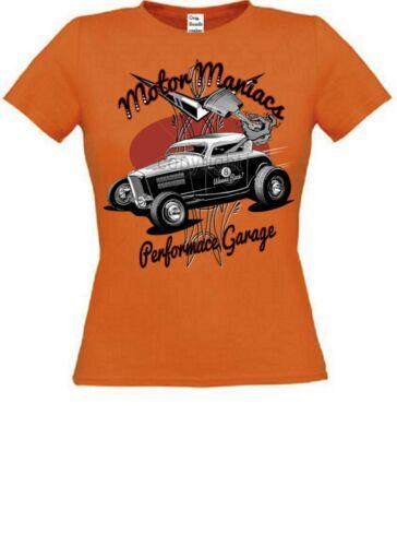 T SHIRT in arancione con un Hot Rod /&/' 50 STYLE Motivo Modello Motore Maniac