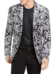 INC Mens Blazer White Blue Size Medium M Slim Fit Velvet Floral Burst $149 #301