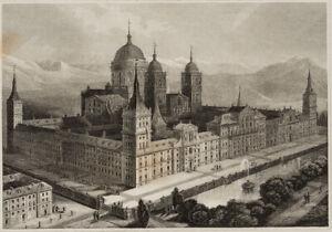 Ansicht-der-Palastanlage-El-Escorial-bei-Madrid-um-1850-Stahlstich