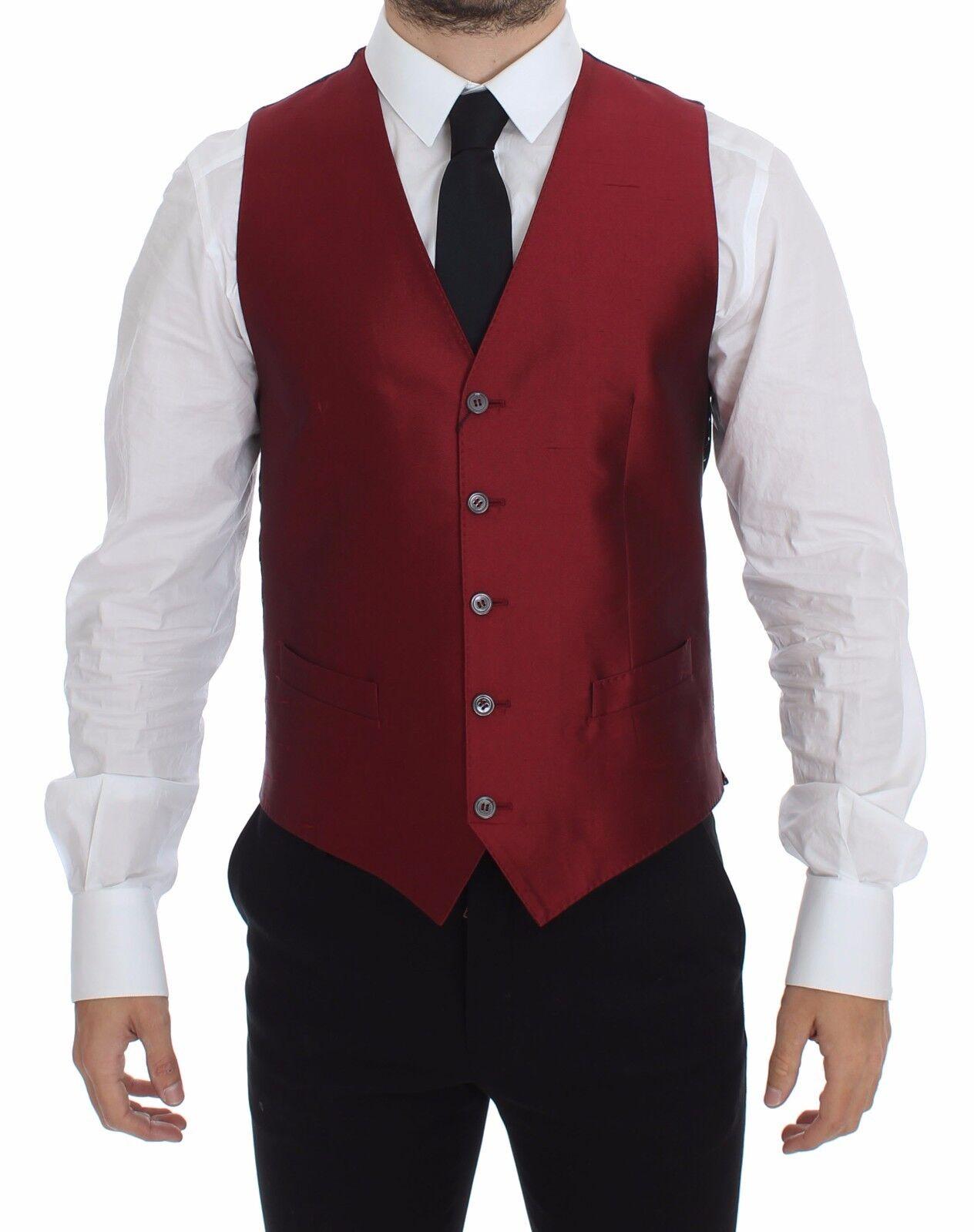 NEW 600 DOLCE & GABBANA Vest Waistcoat ROT Silk Dress Blazer IT52 / US42 / XL