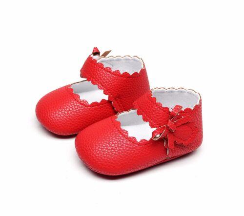 Newborn Baby Toddler Girl Crib Shoes Leather Prewalker Anti-slip Moccasins