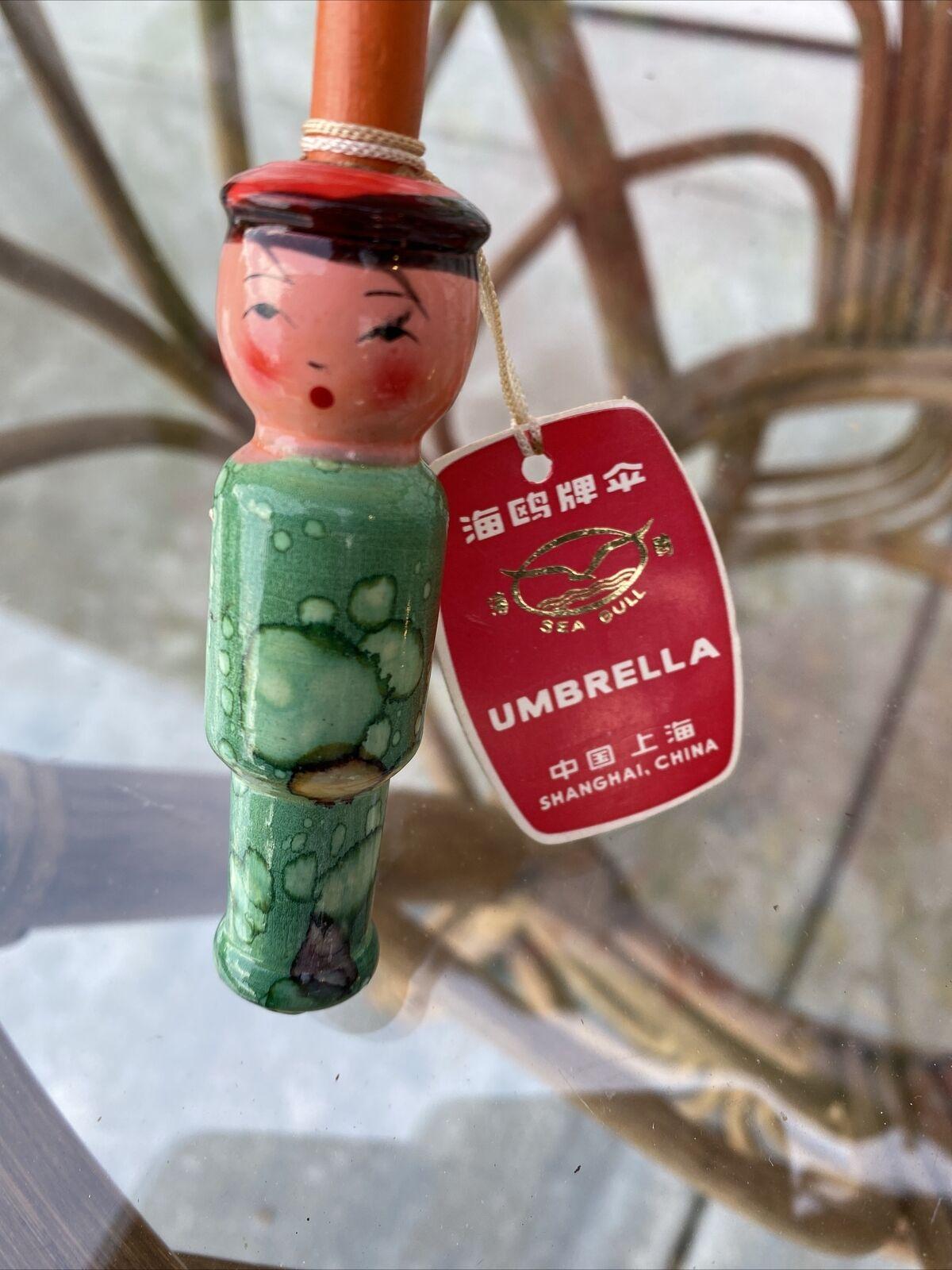 Vtg 70s Child Doll UMBRELLA PARASOL Wooden Orig T… - image 7