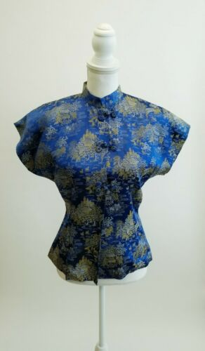 Vintage 60s Silk Brocade  Blue Asian Top Shirt Man
