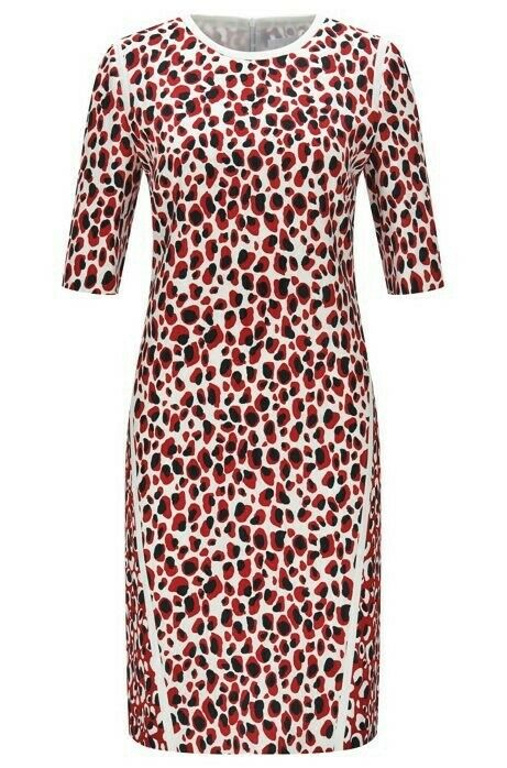 HUGO BOSS Kleid Dress DESIMA Leopard Print Stretch Gr. 40 schwarz rot weiß