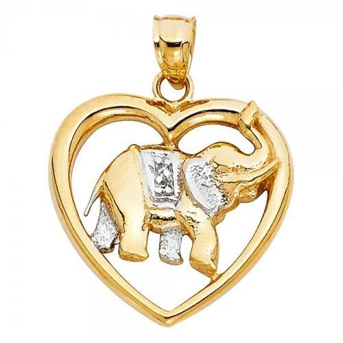 14K Two Tone Gold Elephant Heart Pendant GJPT1623