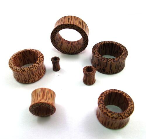 Geschnitzter Bio Palm Holz Fleisch-Ohr Tunnel Kein Metall 2 Teile Paar