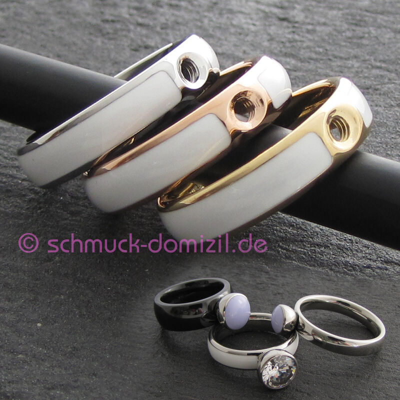 AUSLAUFMODELL MelanO Twisted Resin Ring Tracy Gr. 64 - Edelstahl redgold   Weiss