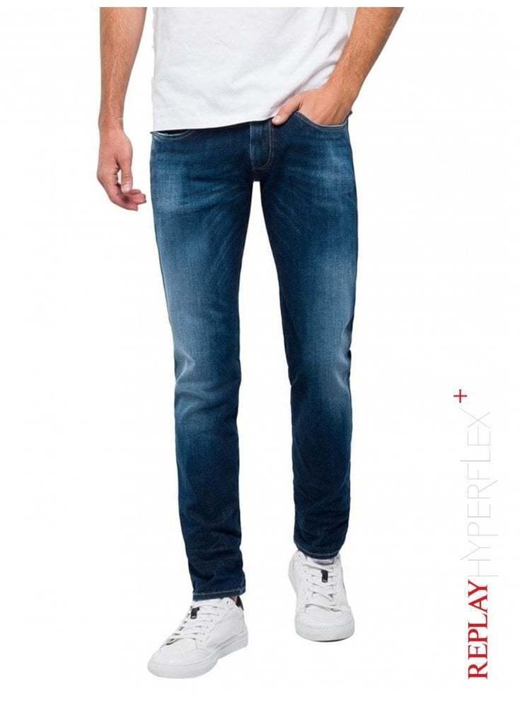 REPLAY Slim Fit Hyperflex+ Anbass Jeans - Dark bluee