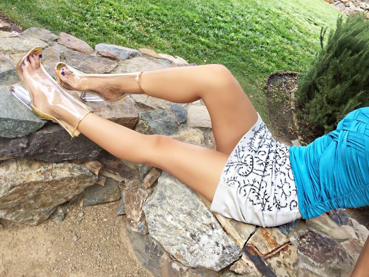 Shoe Republic Mitsie Open Toe Block Chunky Clear Perspex Lucite Heel Bootie