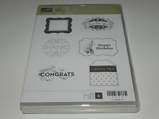 Stampin Up Tagtastic CLEAR Mount Stamp Set of 6 NEW Polar Bear Happy Birthday