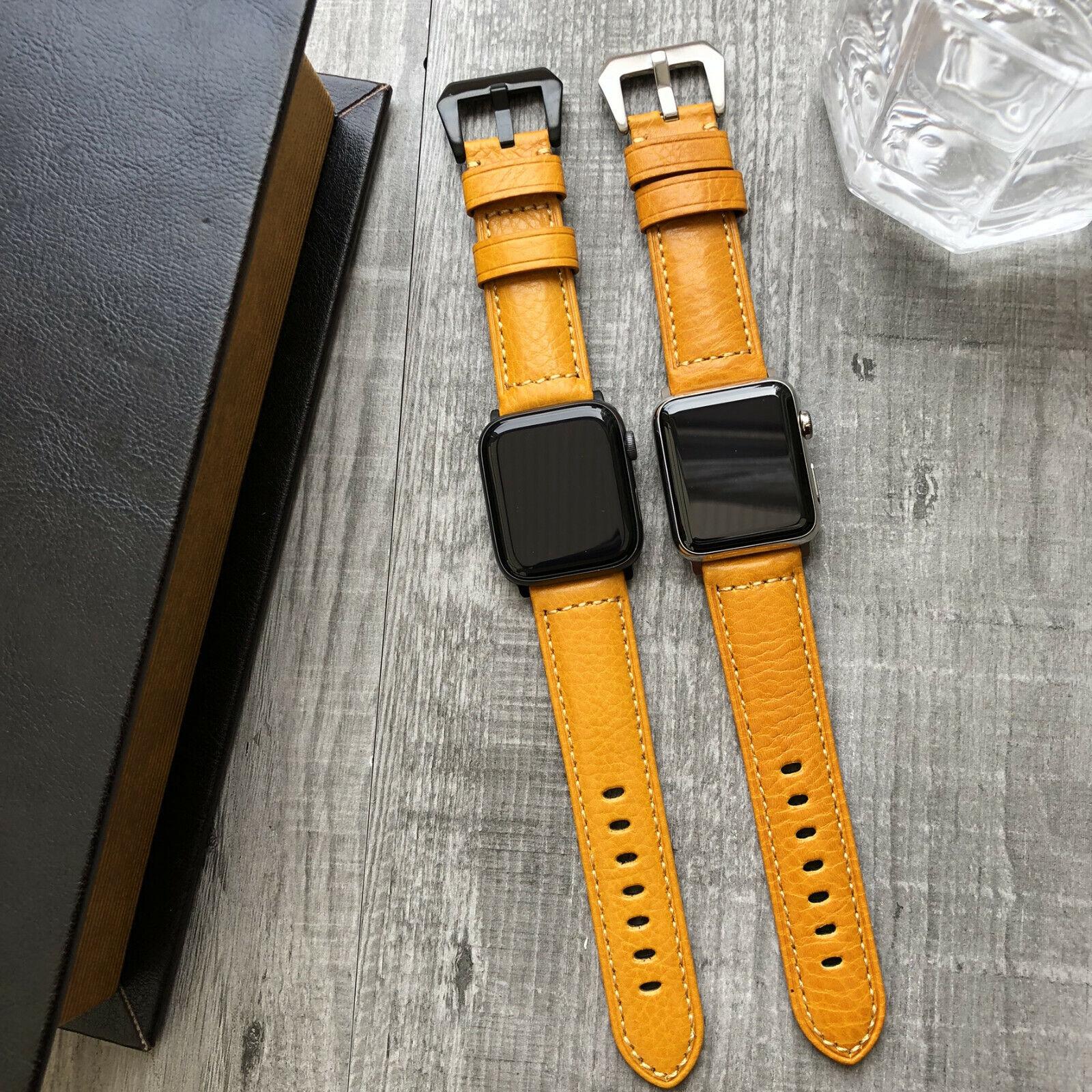iwatch: Per Orologio Apple Serie Se 6 5 4 40mm 44mm Arancio pelle Vitello Iwatch Fascia