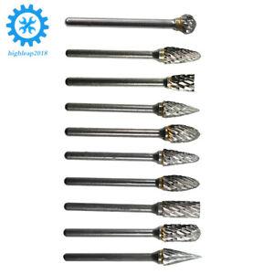 "10x Tungsten Carbide Burr Rotary Drill Bits Tools Cutter Files Set Shank 1//8/"" US"