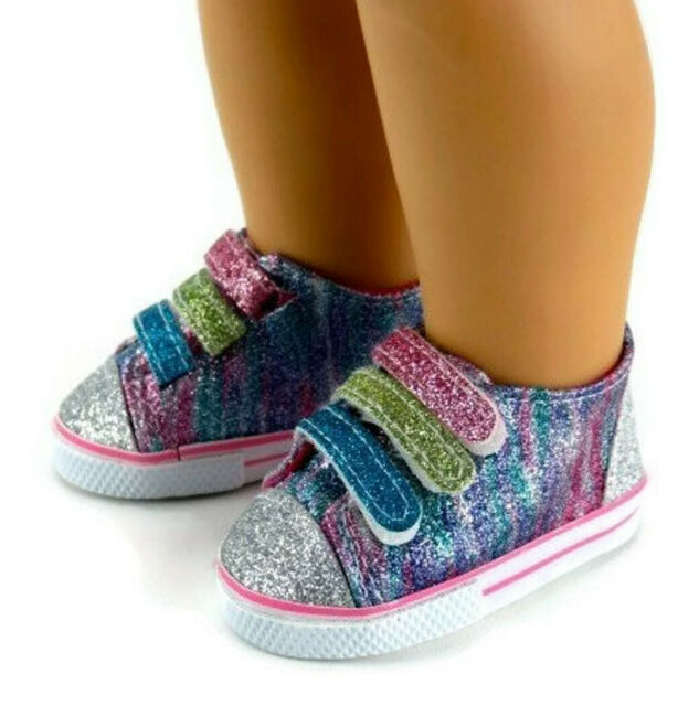 """Rainbow Glitter Sneakers Sparkle for 18/"""" American Girl Doll Baby Shoes LOVV"""