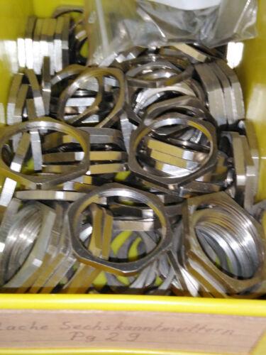 Gegenmutter für Kabelverschraubung Messing vernickelt Pg29 sechskant SW 41 mm