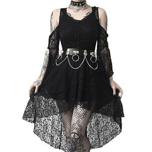 Women-Dark-In-Love-Ruffle-Sleeves-Off-Shoulder-Gothic-Lace-Dress-Plus-Size-S-5XL