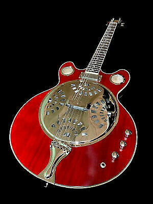 2018 resonator double cutout trans red electric jazz blues guitar for sale online ebay. Black Bedroom Furniture Sets. Home Design Ideas