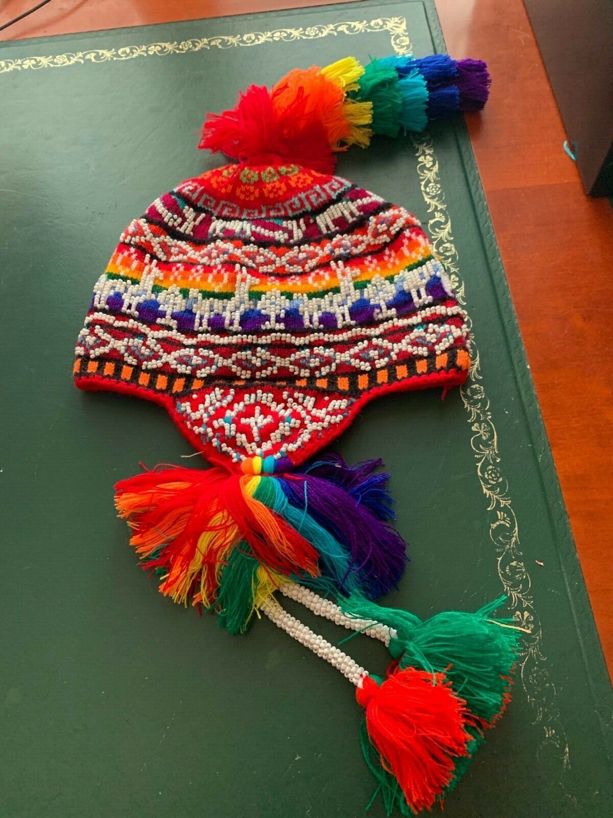 PERUVIAN CHULLO HAT WITH BEADS MULTICOLOURED RAVE FESTIVAL HAND MADE 11