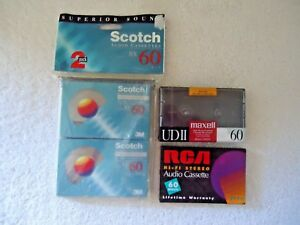 Mixed-Lot-of-4-034-NIP-034-NOS-034-Audio-Cassettes-2-Pack-Of-Scotch-1-Maxell-UD11-1-RC