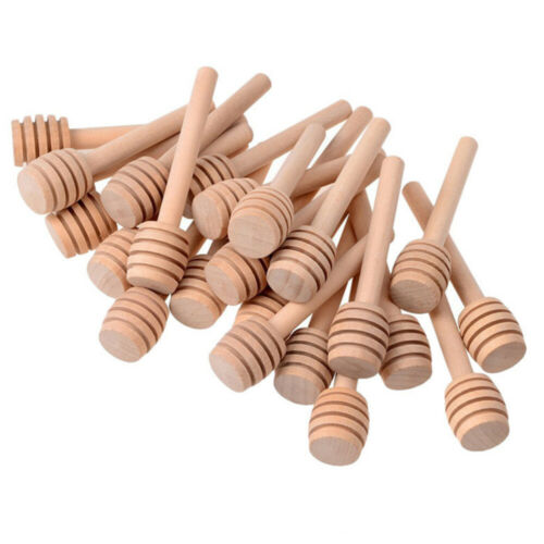 "30PCS 3/"" Small Wooden Honey Spoon Dipper Tiny Wood Spoon Dippers Stick Drizzle"