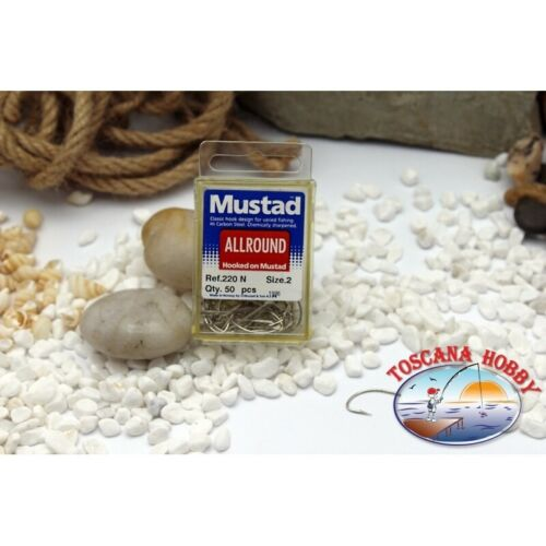 1 box 50 pz ami Mustad cod.220N n.2 All Round hook FC.B1N