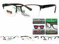 Men Women Progressive 3 In 1 Multi Focal Semi Rimless Reading Glasses No Line
