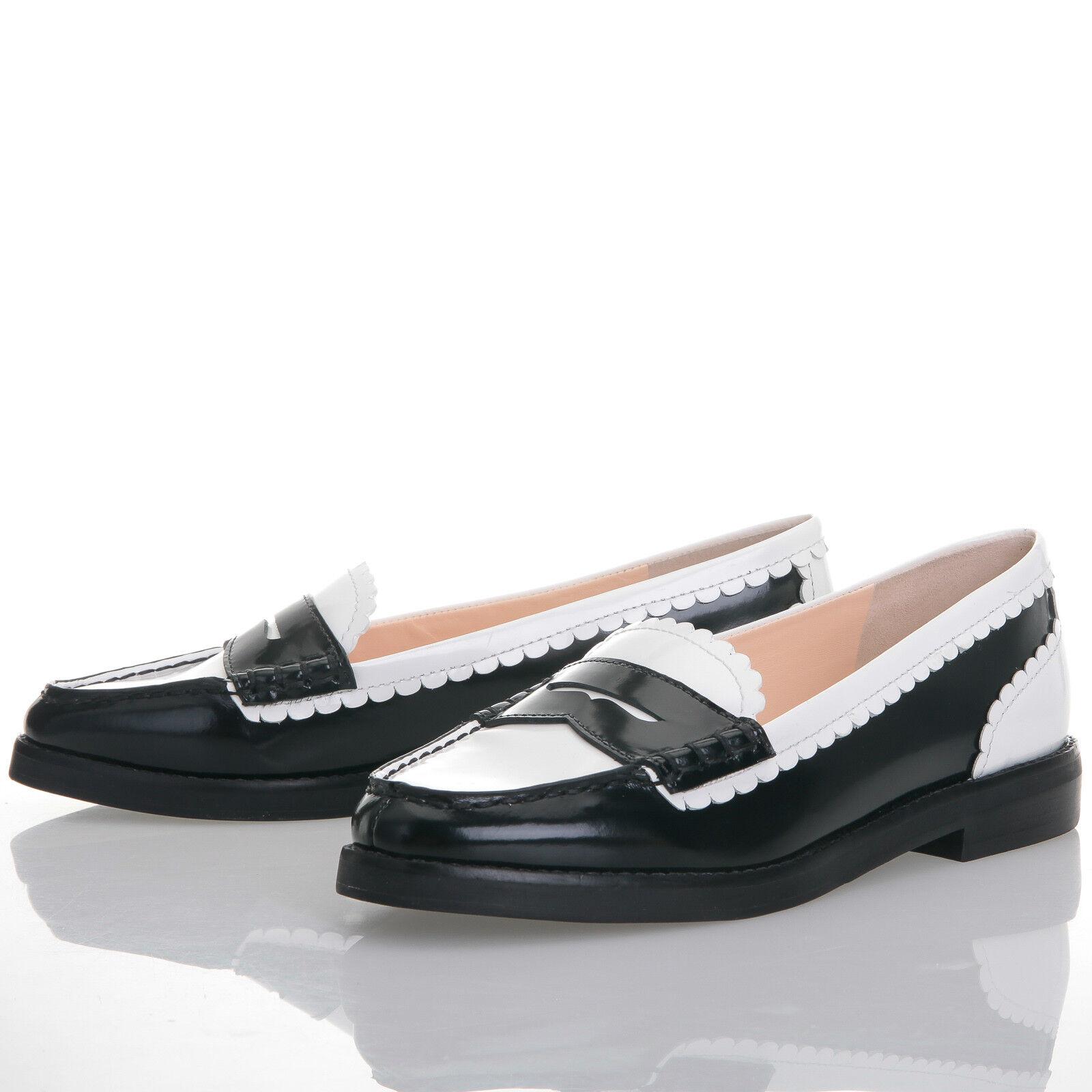 ultimi stili Isa Tapia Caroline bianca bianca bianca & nero Scalloped Leather Penny Loafers - Dimensione 37.5 EU  marchi di moda