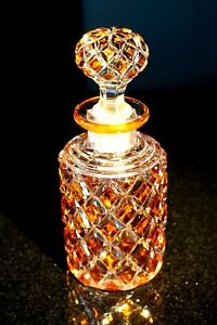 Stunning-Antique-Baccarat-Amber-Crystal-Perfume-Bottle-Unsigned
