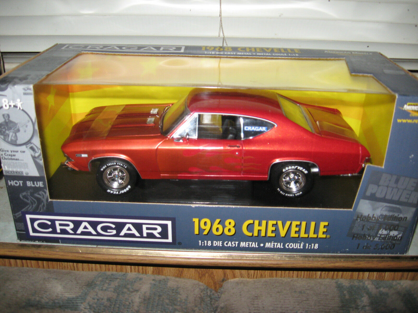 1 18 ERTL 1968 CHEVELLE SS 396 CRAGAR EDITION IN arancia WITH GHOST FLAMES MINT