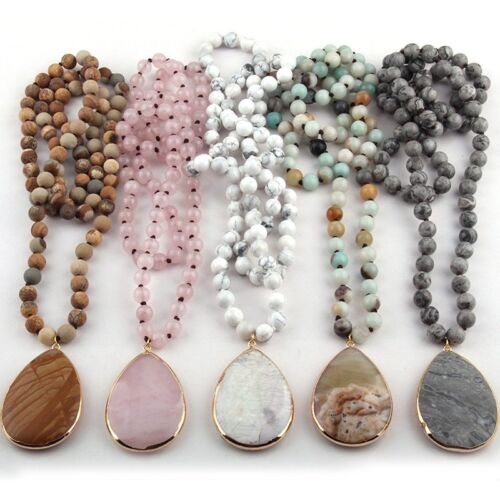 Fashion Knot Crystal Beads Stone Crystal Pendant Woman Necklace Gift Jewelry