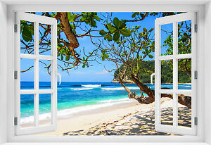 3d wandbild fototapete fensterblick meer strand selbstklebende pvc vlies p 3 ebay. Black Bedroom Furniture Sets. Home Design Ideas