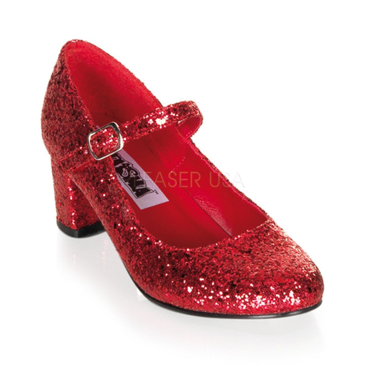 Funtasma Schoolgirl-50 ROT Glitter Heels - Costume,Fancy Dress,Schuhes,ROT,Gothic,