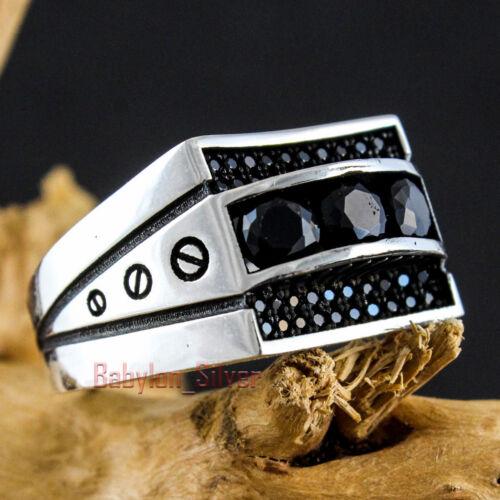 Black CZ Stone 925 Sterling Silver Turkish Handmade Luxury Men/'s Ring All Sizes