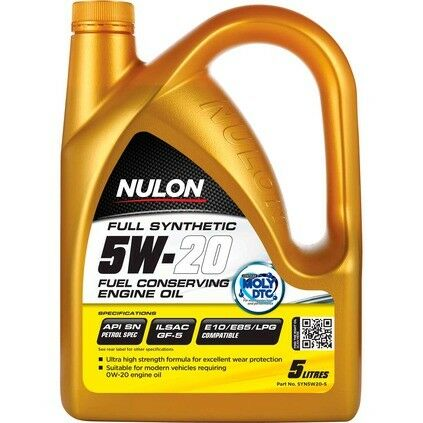 Nulon Fuel Saving Full Synthetic Car Engine Oil 5W-20 5 Litre