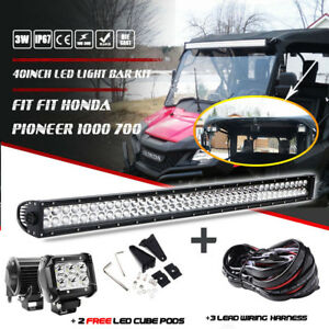 "40"" 42INCH LED LIGHT BAR + 2x 4"" Cube Pods + Wiring Fit Honda Pioneer 1000 700"