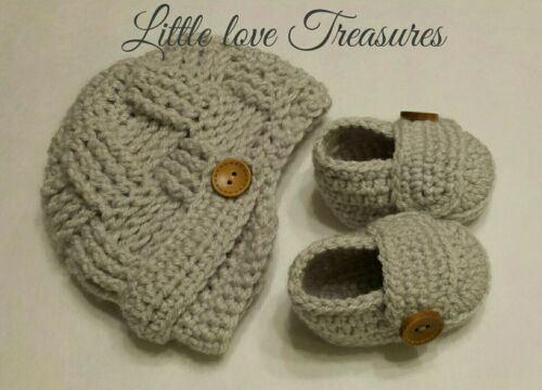 Newborn Baby Boy Hat and Booties Crochet Infant Photo Prop Infant Outfits