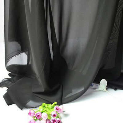 "Black Chiffon fabric sheer bridal wedding lining fabric 60"" wide 5 yards per lot"