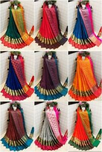 Designer-Silk-Saree-Sari-Blouse-Jacquard-Weaving-Saree-Traditional-Indian-Wear