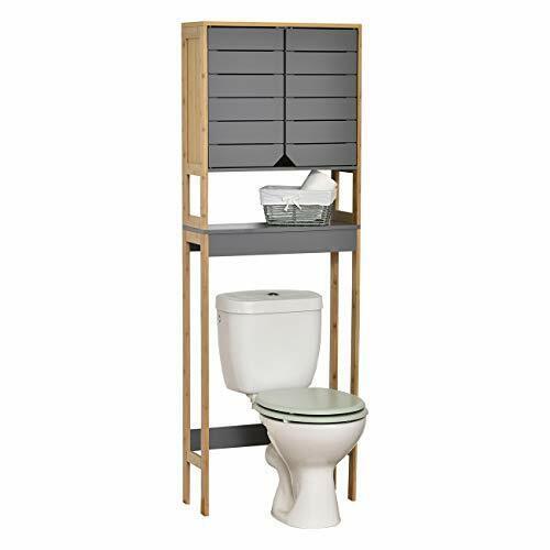 Tendance Noumea - Mueble para inodoro (2 puertas, 1 estante), color gris