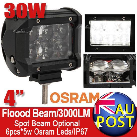 "4"" 30W 4D Osram Flood/Spot Beam LED Work Light Bar Car 4X4WD Jeep Motor SUV 60W"