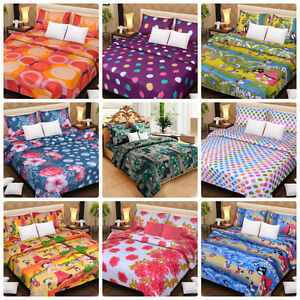 DreamDecor Polycotton Double Bed Sheets With 2 Pillow Covers, 23 Designs options