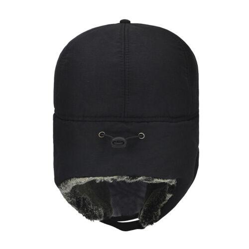 Mens Trapper Aviator Trooper Ear Flap Hat Winter Warm Windproof Trucker Ski Cap
